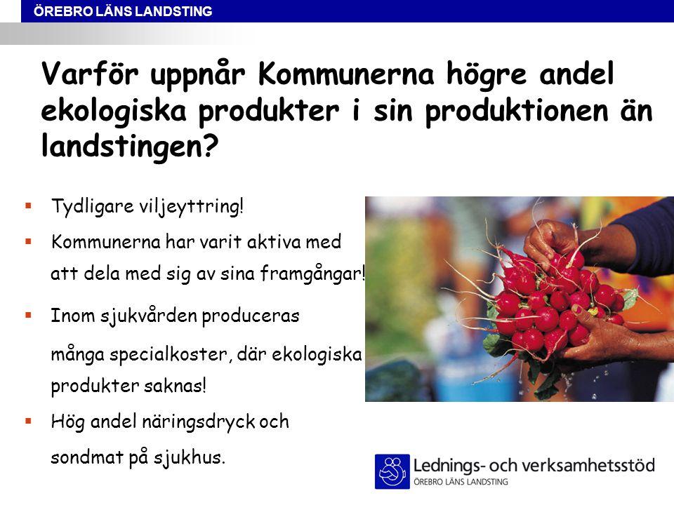 ÖREBRO LÄNS LANDSTING Varför uppnår Kommunerna högre andel ekologiska produkter i sin produktionen än landstingen.