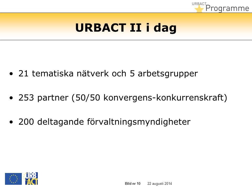22 augusti 2014 Bild nr 10 URBACT II i dag 21 tematiska nätverk och 5 arbetsgrupper 253 partner (50/50 konvergens-konkurrenskraft) 200 deltagande förvaltningsmyndigheter