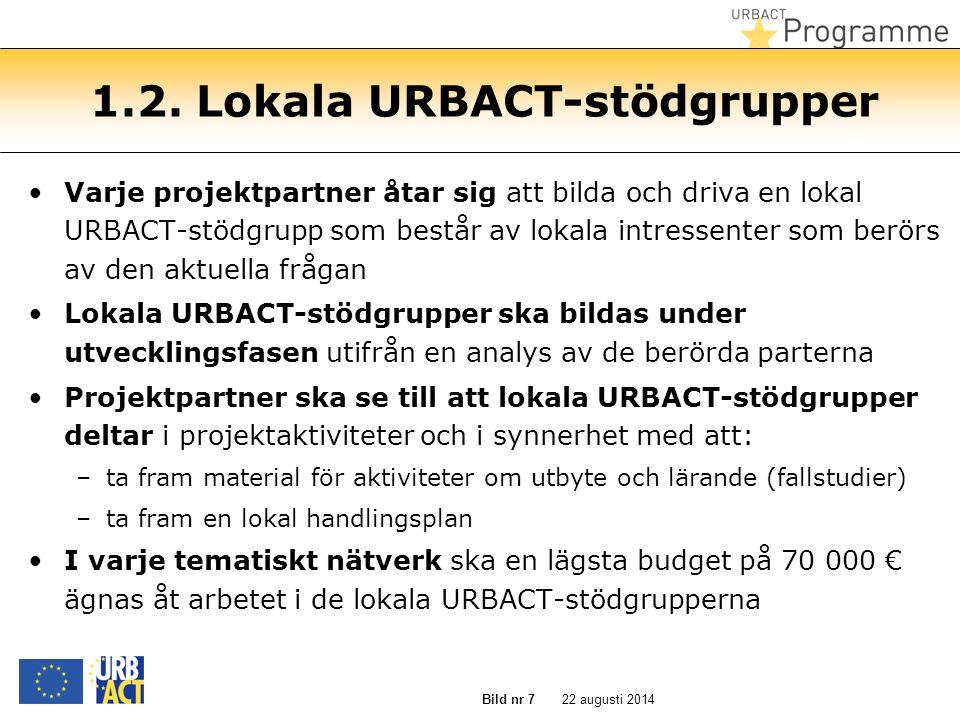 22 augusti 2014Bild nr 7 1.2. Lokala URBACT-stödgrupper Varje projektpartner åtar sig att bilda och driva en lokal URBACT-stödgrupp som består av loka