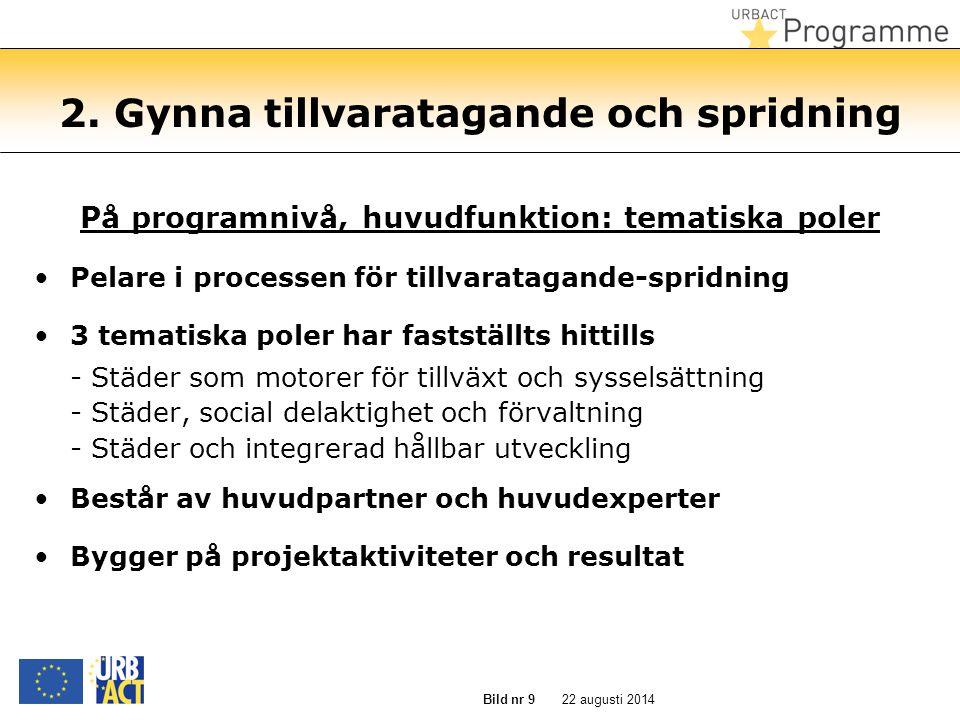22 augusti 2014 Bild nr 9 2. Gynna tillvaratagande och spridning På programnivå, huvudfunktion: tematiska poler Pelare i processen för tillvaratagande