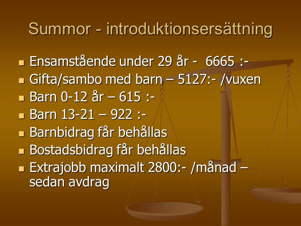 Summor - introduktionsersättning Ensamstående under 29 år - 6665 :- Ensamstående under 29 år - 6665 :- Gifta/sambo med barn – 5127:- /vuxen Gifta/samb