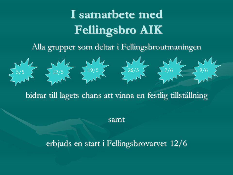 I samarbete med Fellingsbro AIK Alla grupper som deltar i Fellingsbroutmaningen bidrar till lagets chans att vinna en festlig tillställning samt erbjuds en start i Fellingsbrovarvet 12/6 5/512/5 26/52/619/59/6