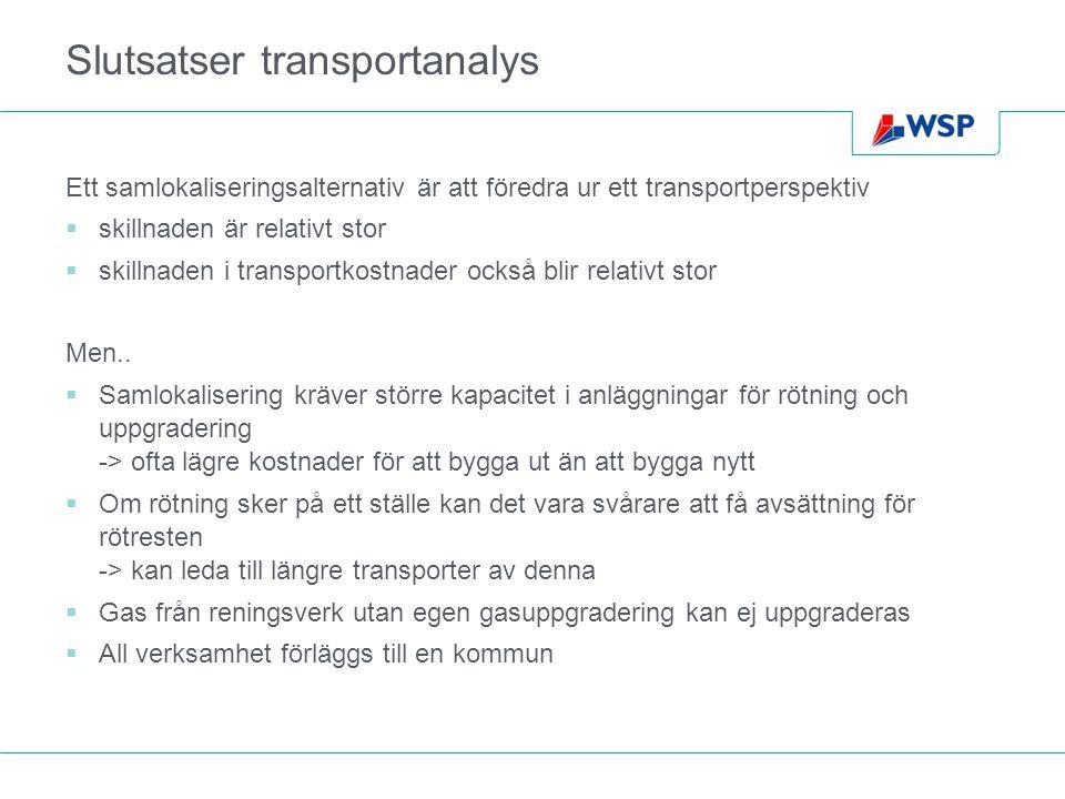 Slutsatser transportanalys Ett samlokaliseringsalternativ är att föredra ur ett transportperspektiv  skillnaden är relativt stor  skillnaden i transportkostnader också blir relativt stor Men..