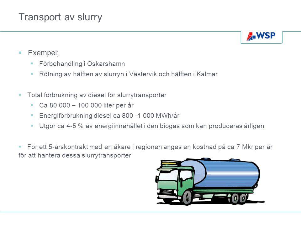 Transport av slurry  Exempel;  Förbehandling i Oskarshamn  Rötning av hälften av slurryn i Västervik och hälften i Kalmar  Total förbrukning av diesel för slurrytransporter  Ca 80 000 – 100 000 liter per år  Energiförbrukning diesel ca 800 -1 000 MWh/år  Utgör ca 4-5 % av energiinnehållet i den biogas som kan produceras årligen  För ett 5-årskontrakt med en åkare i regionen anges en kostnad på ca 7 Mkr per år för att hantera dessa slurrytransporter