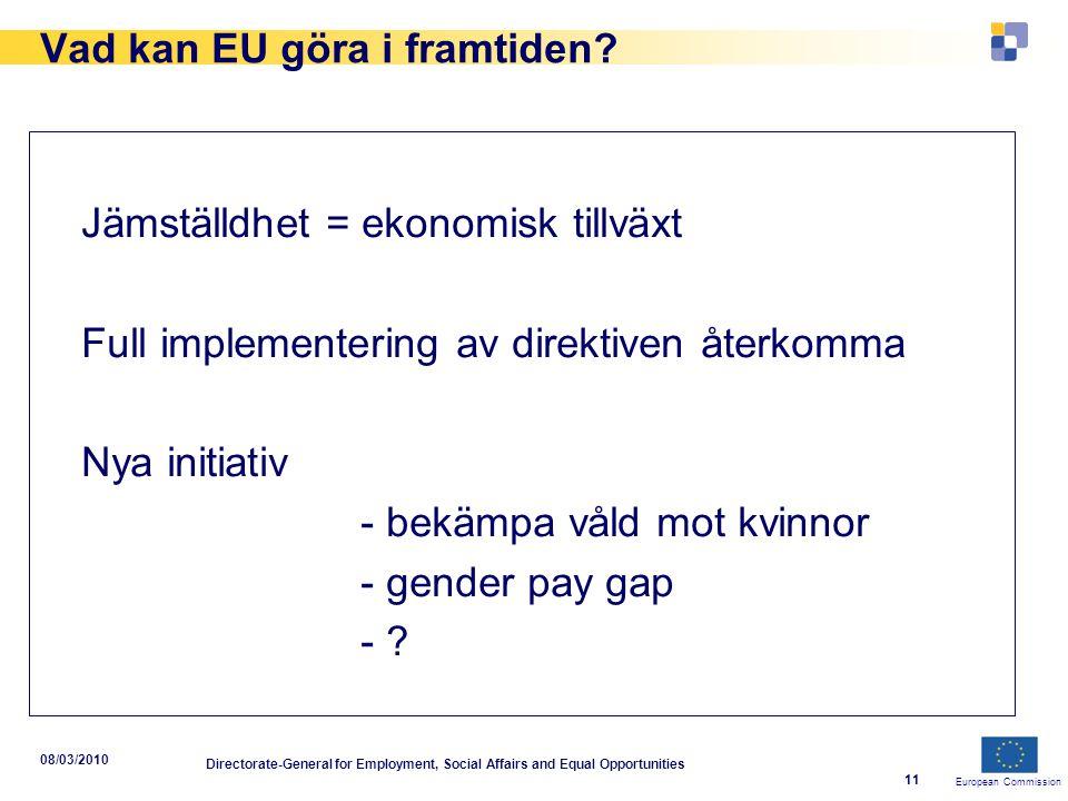 European Commission 08/03/2010 Directorate-General for Employment, Social Affairs and Equal Opportunities 11 Vad kan EU göra i framtiden? Jämställdhet