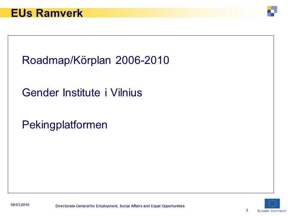 European Commission 08/03/2010 Directorate-General for Employment, Social Affairs and Equal Opportunities 4 Utmaningar Sysselsättningsgrad Män 72,8% Kvinnor 59,1% Deltidsarbete/föräldraledighet Män 7.4% Kvinnor 32.6%