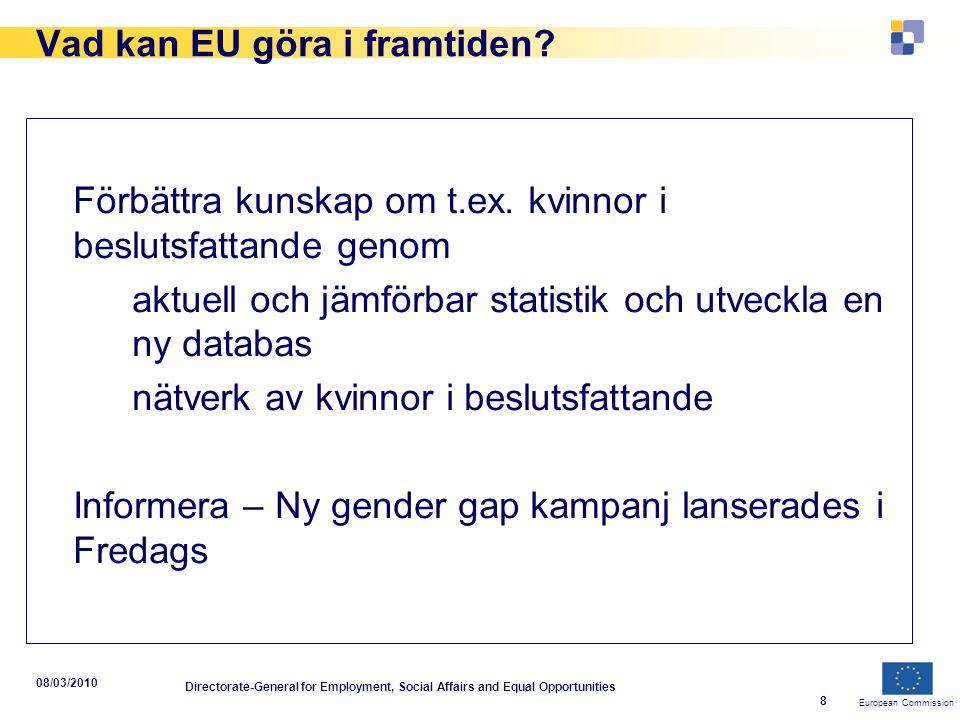 European Commission 08/03/2010 Directorate-General for Employment, Social Affairs and Equal Opportunities 9 Vad kan EU göra i framtiden.