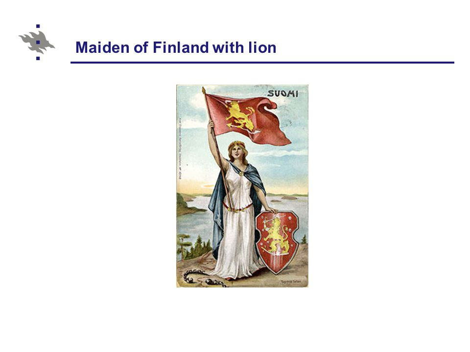 Maiden of Finland with lion