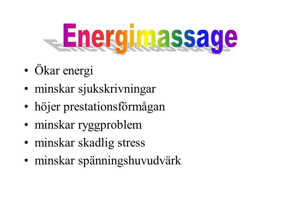 Ökar energi minskar sjukskrivningar höjer prestationsförmågan minskar ryggproblem minskar skadlig stress minskar spänningshuvudvärk