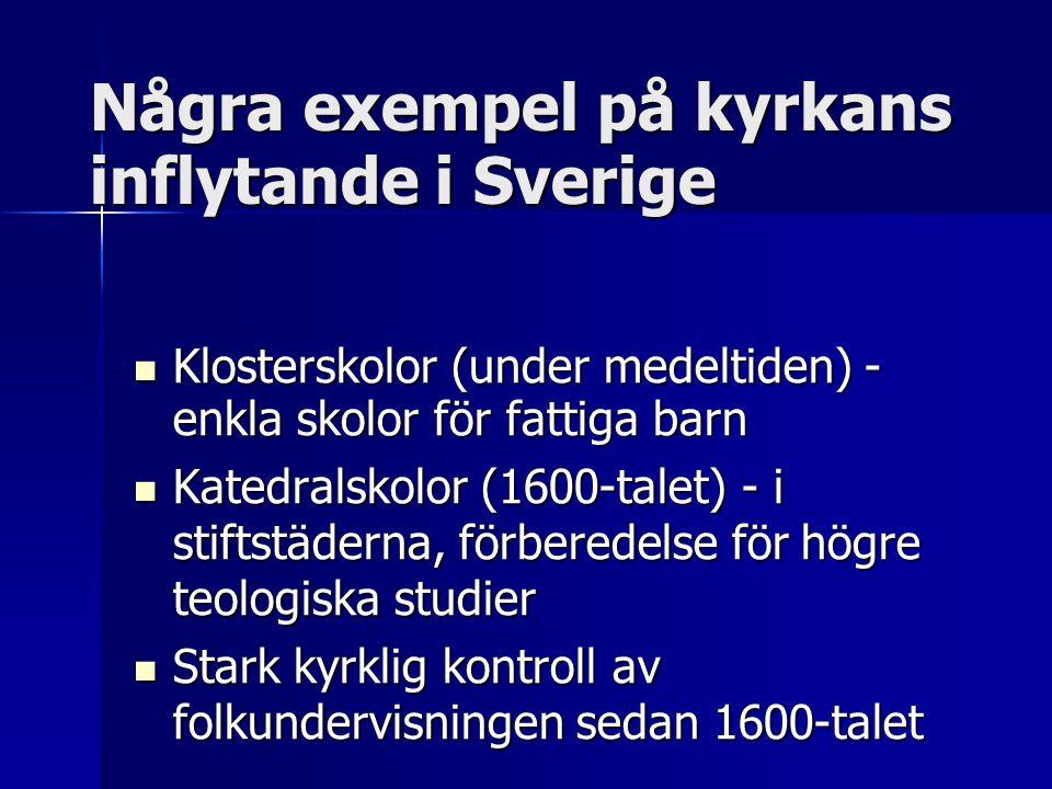 Några exempel på kyrkans inflytande i Sverige Klosterskolor (under medeltiden) - enkla skolor för fattiga barn Klosterskolor (under medeltiden) - enkl