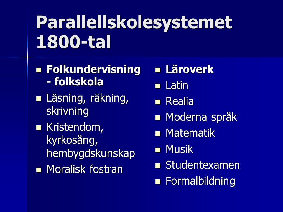 Parallellskolesystemet 1800-tal Folkundervisning - folkskola Folkundervisning - folkskola Läsning, räkning, skrivning Läsning, räkning, skrivning Kris