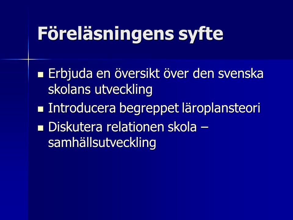 Föreläsningens syfte Erbjuda en översikt över den svenska skolans utveckling Erbjuda en översikt över den svenska skolans utveckling Introducera begre