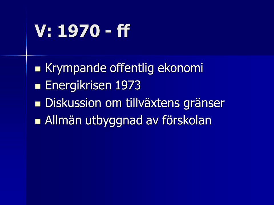 V: 1970 - ff Krympande offentlig ekonomi Krympande offentlig ekonomi Energikrisen 1973 Energikrisen 1973 Diskussion om tillväxtens gränser Diskussion