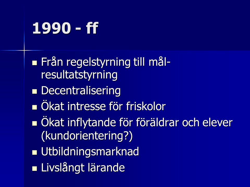 1990 - ff Från regelstyrning till mål- resultatstyrning Från regelstyrning till mål- resultatstyrning Decentralisering Decentralisering Ökat intresse