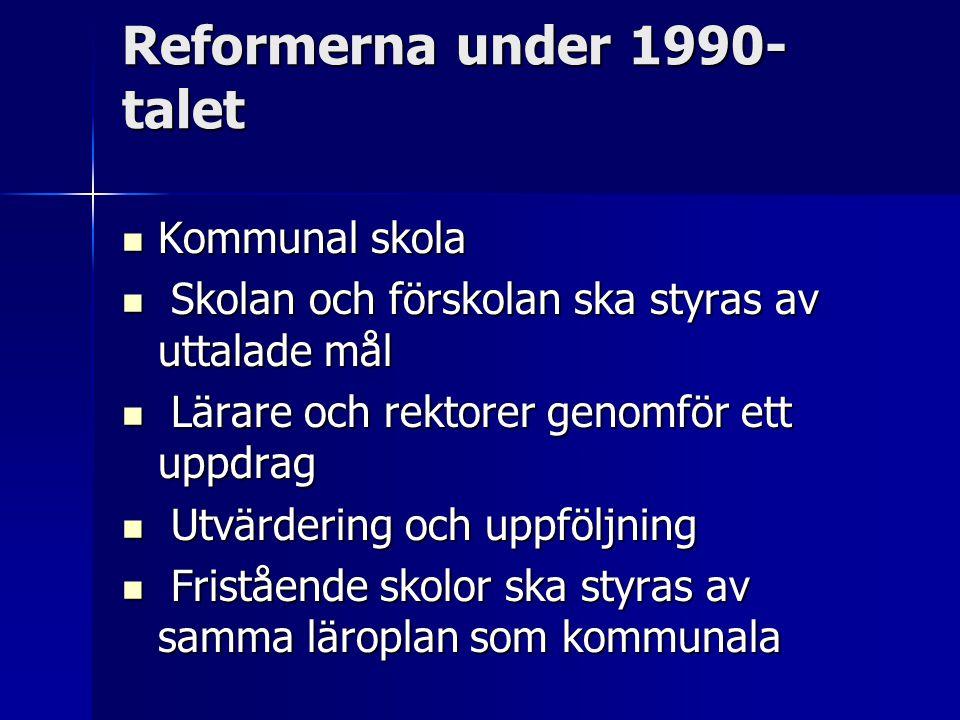 Reformerna under 1990- talet Kommunal skola Kommunal skola Skolan och förskolan ska styras av uttalade mål Skolan och förskolan ska styras av uttalade