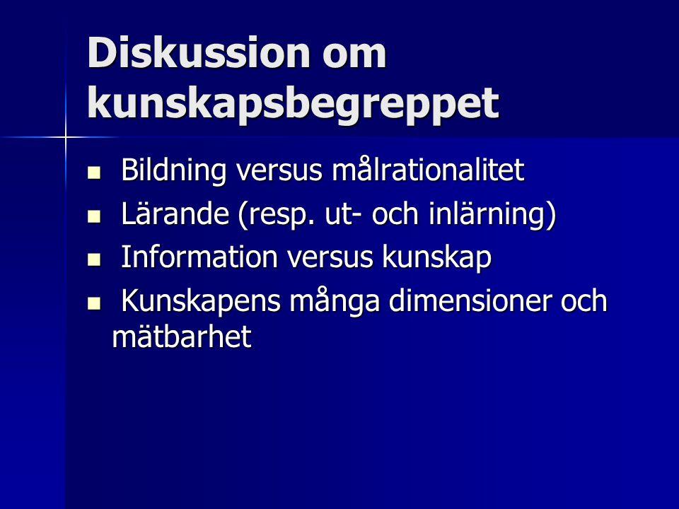 Diskussion om kunskapsbegreppet Bildning versus målrationalitet Bildning versus målrationalitet Lärande (resp. ut- och inlärning) Lärande (resp. ut- o