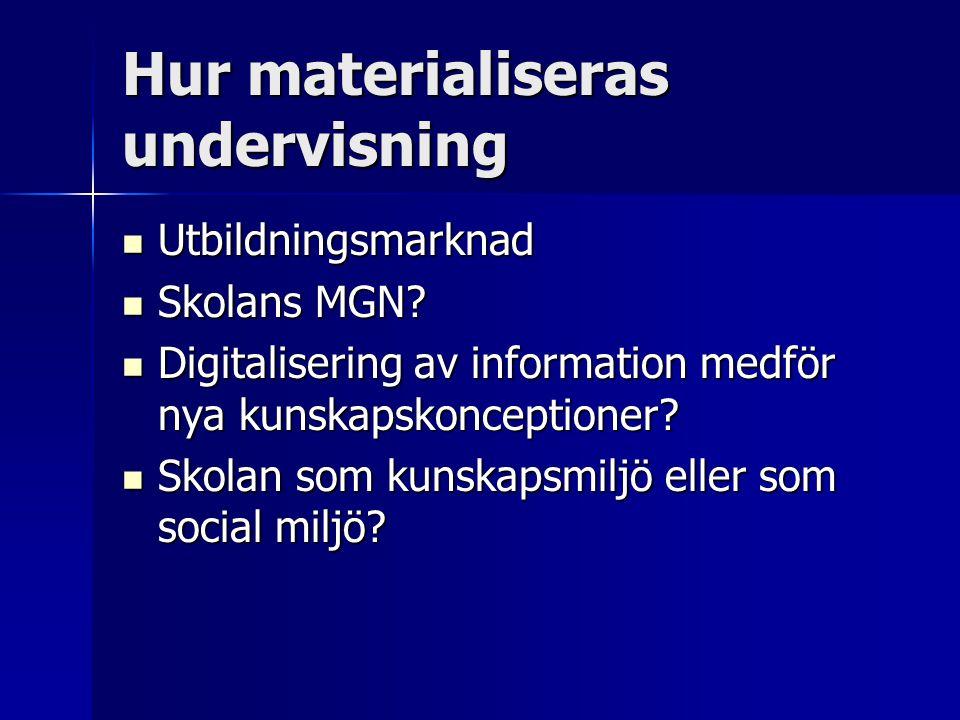 Hur materialiseras undervisning Utbildningsmarknad Utbildningsmarknad Skolans MGN? Skolans MGN? Digitalisering av information medför nya kunskapskonce