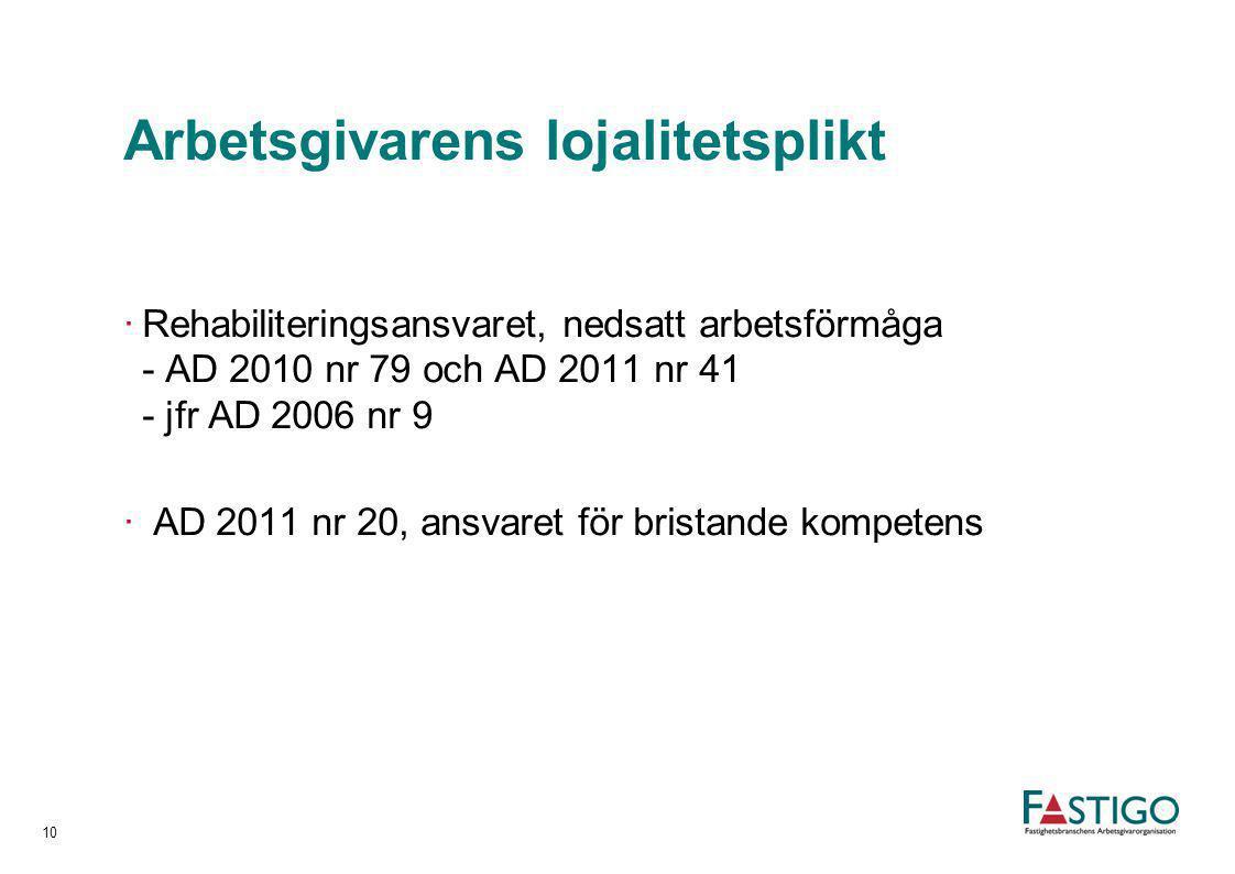 Arbetsgivarens lojalitetsplikt ·Rehabiliteringsansvaret, nedsatt arbetsförmåga - AD 2010 nr 79 och AD 2011 nr 41 - jfr AD 2006 nr 9 · AD 2011 nr 20, a