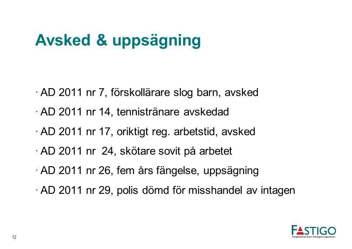 Avsked & uppsägning ·AD 2011 nr 7, förskollärare slog barn, avsked ·AD 2011 nr 14, tennistränare avskedad ·AD 2011 nr 17, oriktigt reg. arbetstid, avs