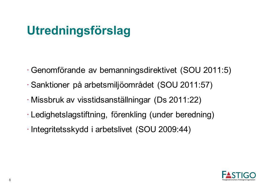 Utredningsförslag ·Genomförande av bemanningsdirektivet (SOU 2011:5) ·Sanktioner på arbetsmiljöområdet (SOU 2011:57) ·Missbruk av visstidsanställninga
