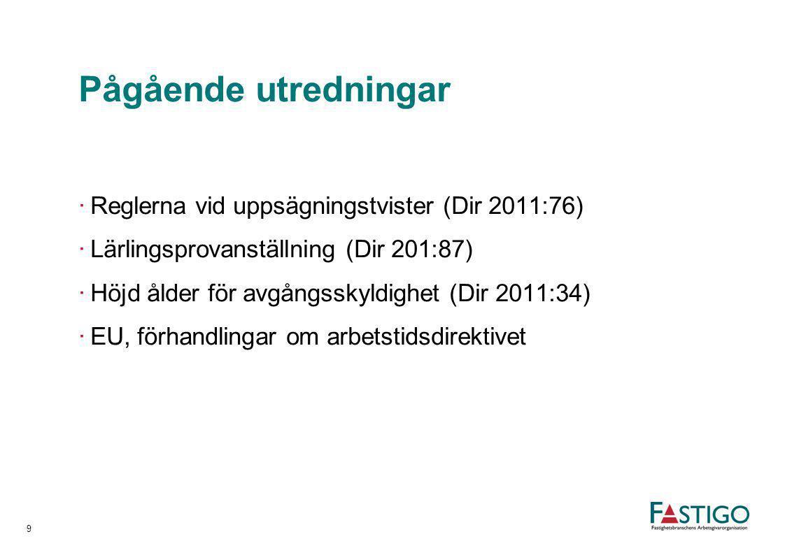 Pågående utredningar ·Reglerna vid uppsägningstvister (Dir 2011:76) ·Lärlingsprovanställning (Dir 201:87) ·Höjd ålder för avgångsskyldighet (Dir 2011: