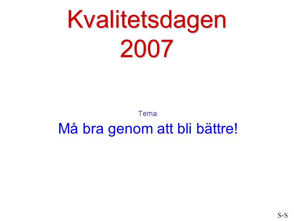 Kvalitetsdagen 2007 Tema : Må bra genom att bli bättre! S-S