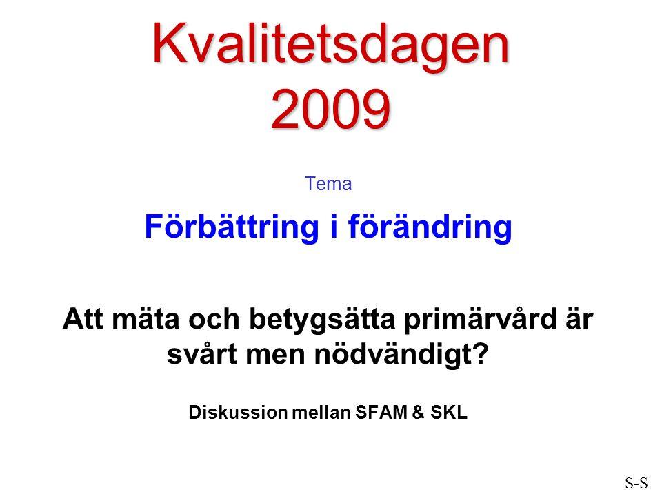 Kvalitetsdagen 2009 Tema Förbättring i förändring Att mäta och betygsätta primärvård är svårt men nödvändigt? Diskussion mellan SFAM & SKL S-S