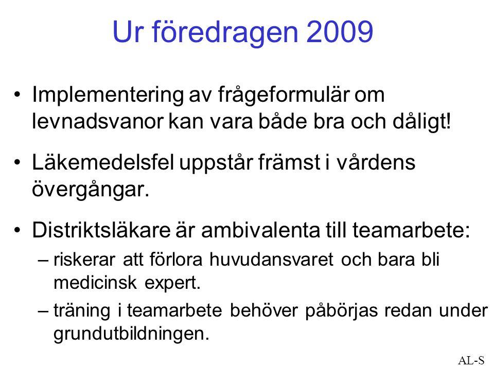 Ur föredragen 2009 Implementering av frågeformulär om levnadsvanor kan vara både bra och dåligt! Läkemedelsfel uppstår främst i vårdens övergångar. Di