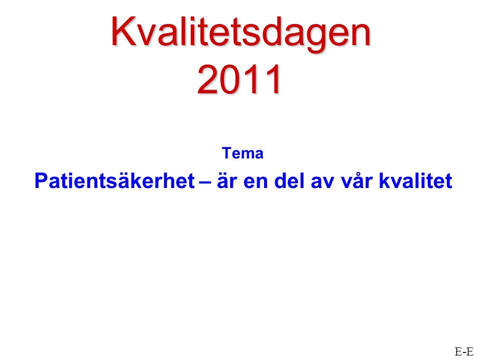 Kvalitetsdagen 2011 Tema Patientsäkerhet – är en del av vår kvalitet E-E
