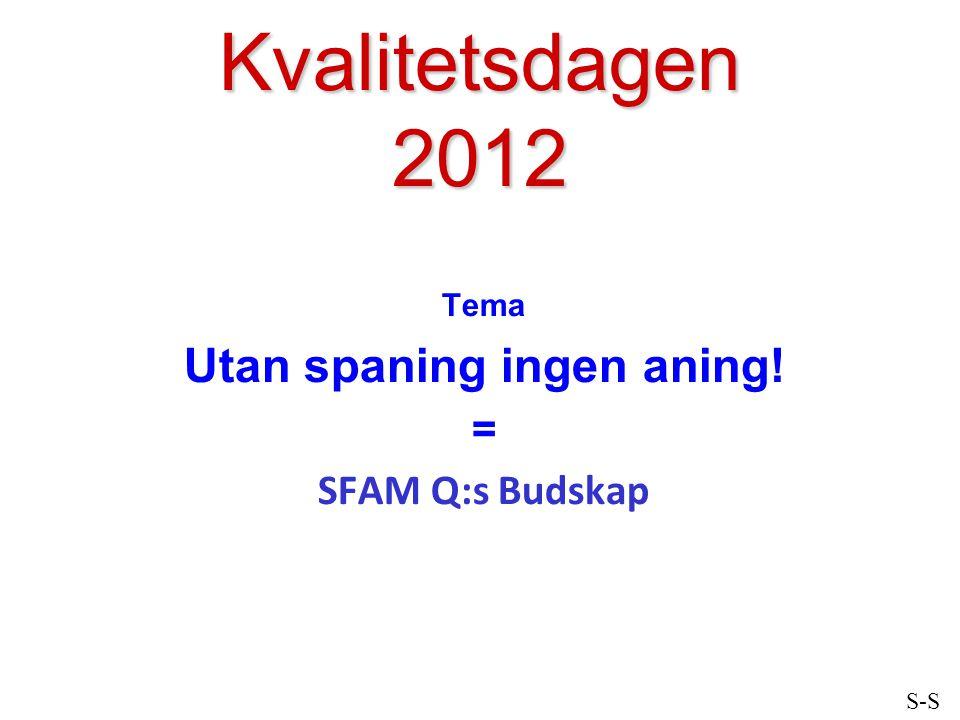 Kvalitetsdagen 2012 Tema Utan spaning ingen aning! = SFAM Q:s Budskap S-S