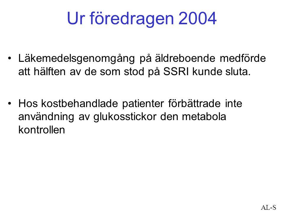Ur föredragen 2004 Läkemedelsgenomgång på äldreboende medförde att hälften av de som stod på SSRI kunde sluta. Hos kostbehandlade patienter förbättrad