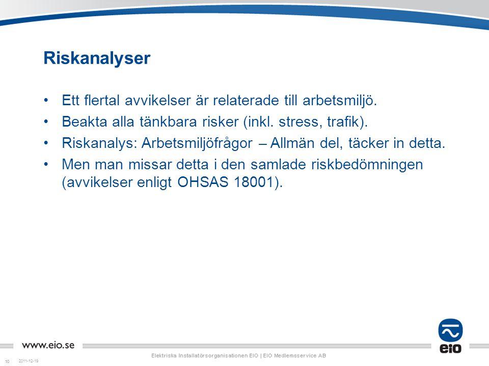 10 Riskanalyser Ett flertal avvikelser är relaterade till arbetsmiljö. Beakta alla tänkbara risker (inkl. stress, trafik). Riskanalys: Arbetsmiljöfråg