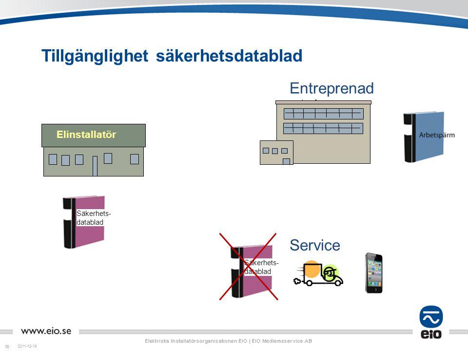 15 Tillgänglighet säkerhetsdatablad 2011-12-19 Service Entreprenad Elinstallatör Säkerhets- datablad