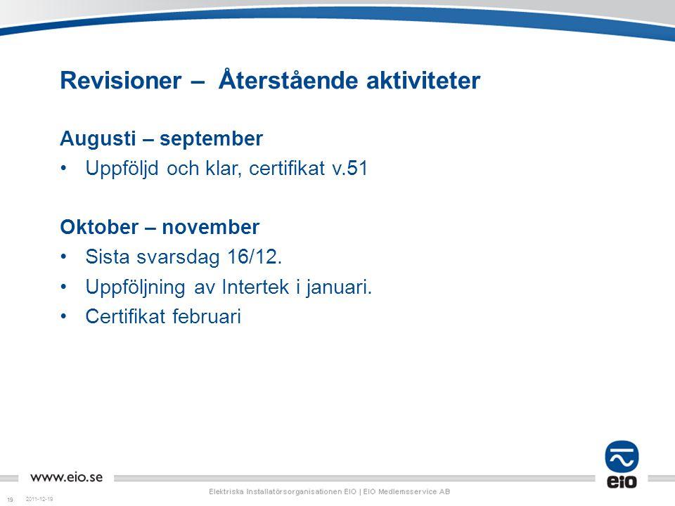 19 Revisioner – Återstående aktiviteter Augusti – september Uppföljd och klar, certifikat v.51 Oktober – november Sista svarsdag 16/12. Uppföljning av