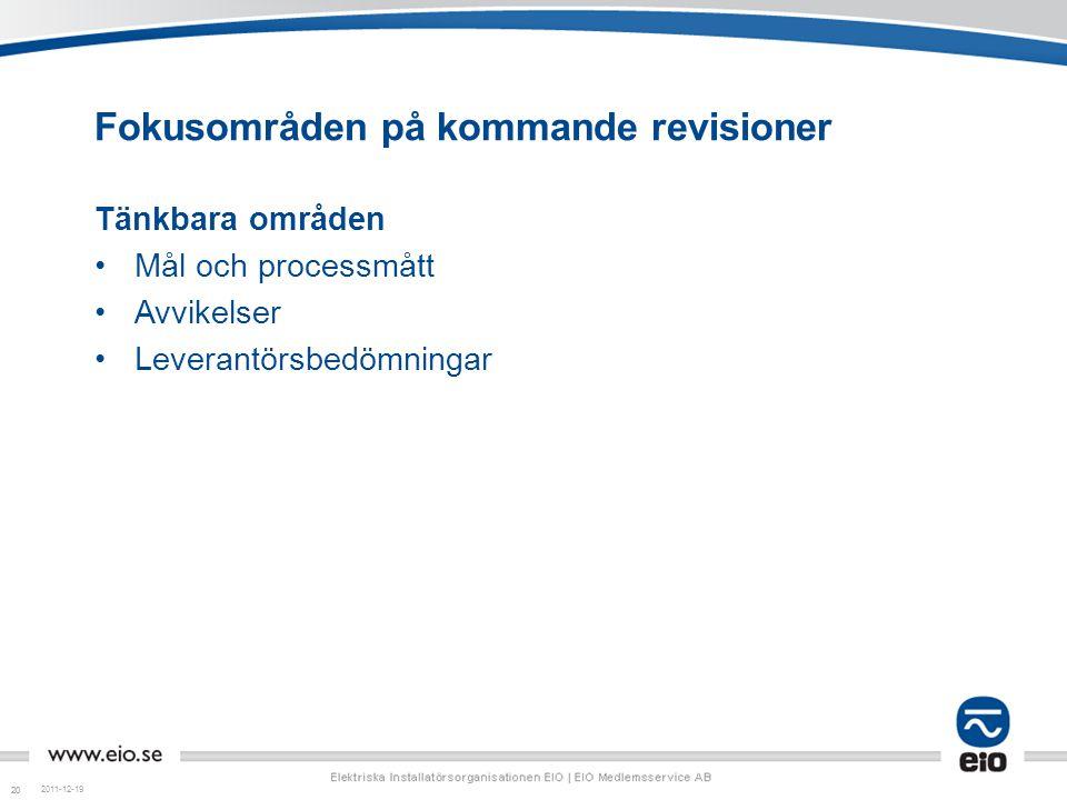20 Fokusområden på kommande revisioner Tänkbara områden Mål och processmått Avvikelser Leverantörsbedömningar 2011-12-19