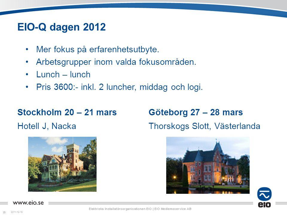 25 EIO-Q dagen 2012 Stockholm 20 – 21 mars Hotell J, Nacka Göteborg 27 – 28 mars Thorskogs Slott, Västerlanda 2011-12-19 Mer fokus på erfarenhetsutbyt