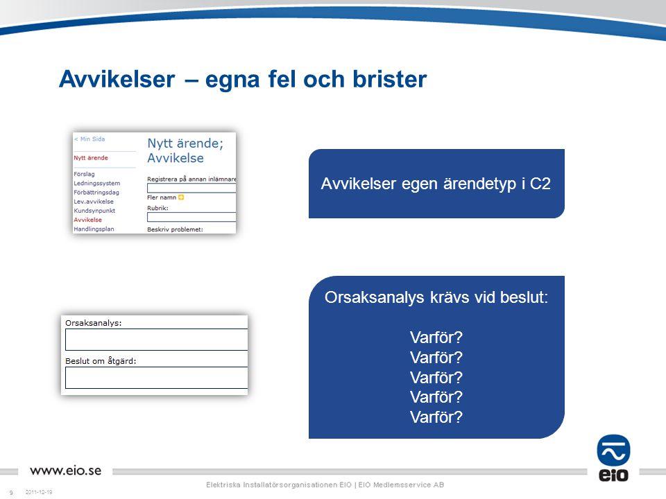 99 Avvikelser – egna fel och brister 2011-12-19 Avvikelser egen ärendetyp i C2 Orsaksanalys krävs vid beslut: Varför?
