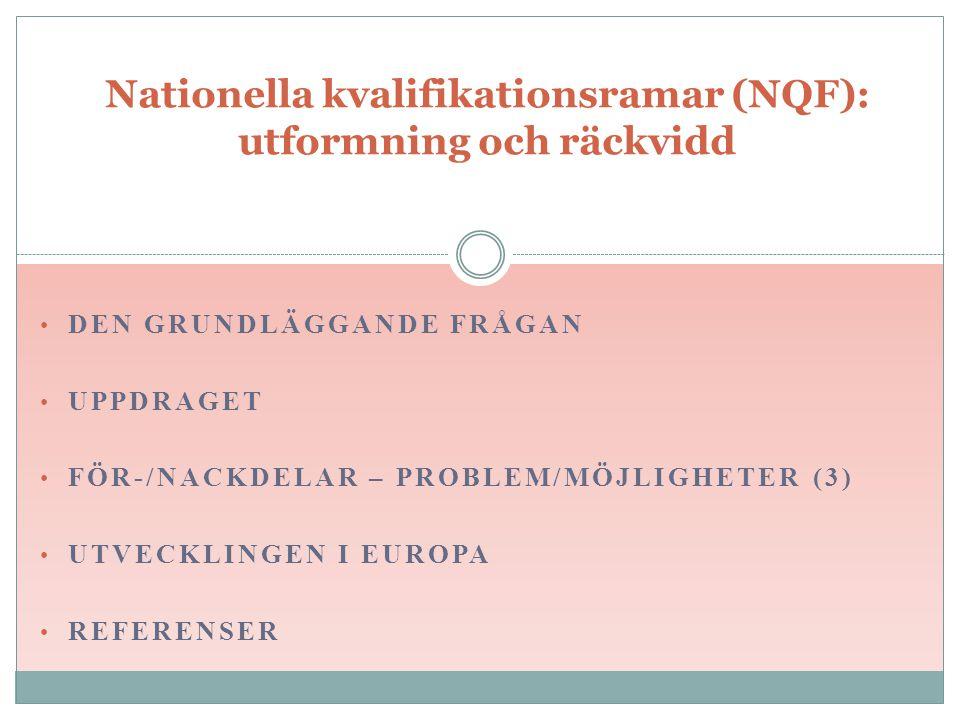 DEN GRUNDLÄGGANDE FRÅGAN UPPDRAGET FÖR-/NACKDELAR – PROBLEM/MÖJLIGHETER (3) UTVECKLINGEN I EUROPA REFERENSER Nationella kvalifikationsramar (NQF): utformning och räckvidd