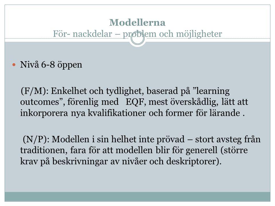 """Modellerna För- nackdelar – problem och möjligheter Nivå 6-8 öppen (F/M): Enkelhet och tydlighet, baserad på """"learning outcomes"""", förenlig med EQF, me"""