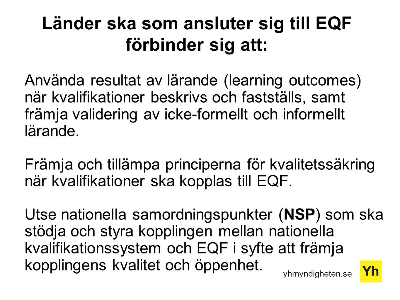 yhmyndigheten.se Länder ska som ansluter sig till EQF förbinder sig att: Använda resultat av lärande (learning outcomes) när kvalifikationer beskrivs och fastställs, samt främja validering av icke-formellt och informellt lärande.