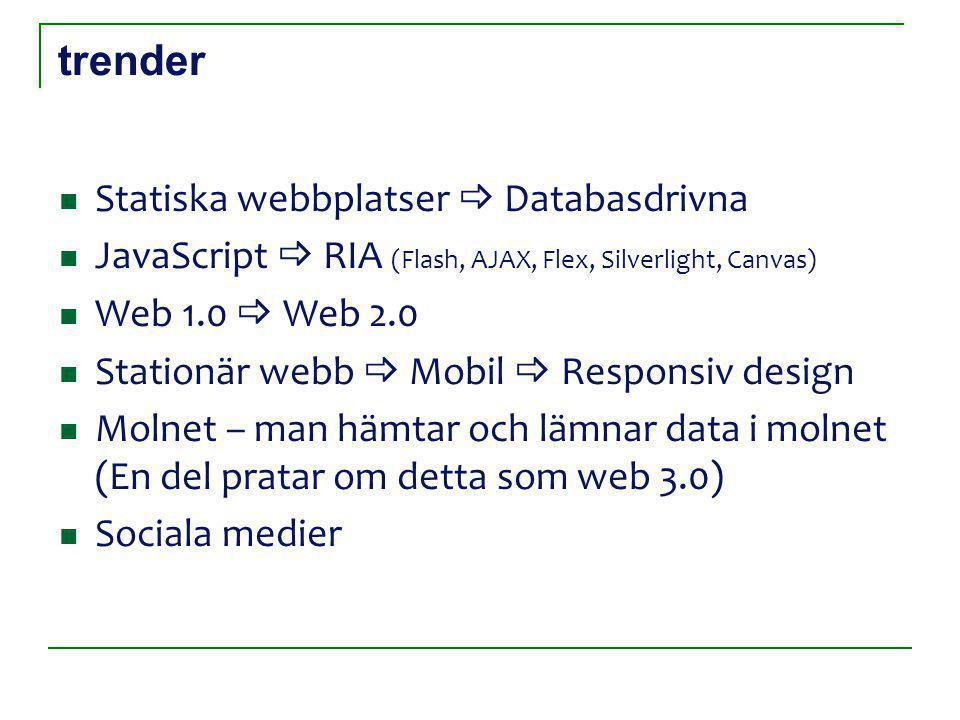 trender Statiska webbplatser  Databasdrivna JavaScript  RIA (Flash, AJAX, Flex, Silverlight, Canvas) Web 1.0  Web 2.0 Stationär webb  Mobil  Responsiv design Molnet – man hämtar och lämnar data i molnet (En del pratar om detta som web 3.0) Sociala medier