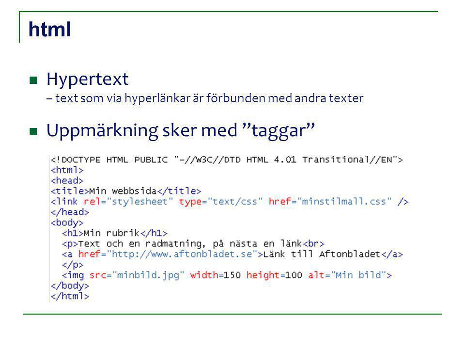 html Hypertext – text som via hyperlänkar är förbunden med andra texter Uppmärkning sker med taggar
