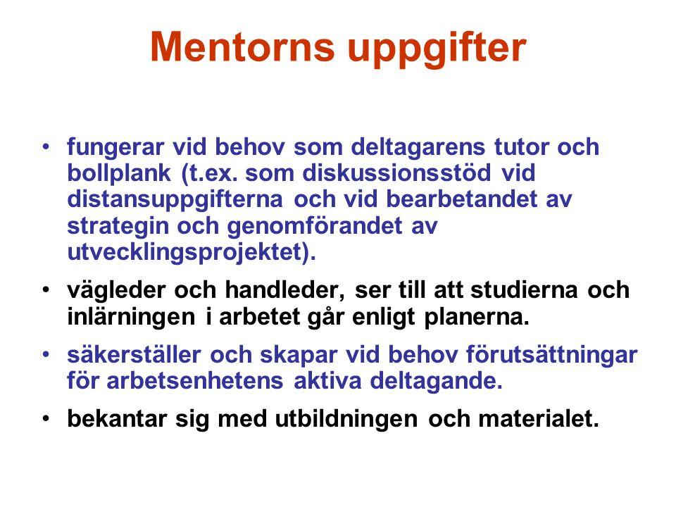 Mentorns uppgifter fungerar vid behov som deltagarens tutor och bollplank (t.ex. som diskussionsstöd vid distansuppgifterna och vid bearbetandet av st