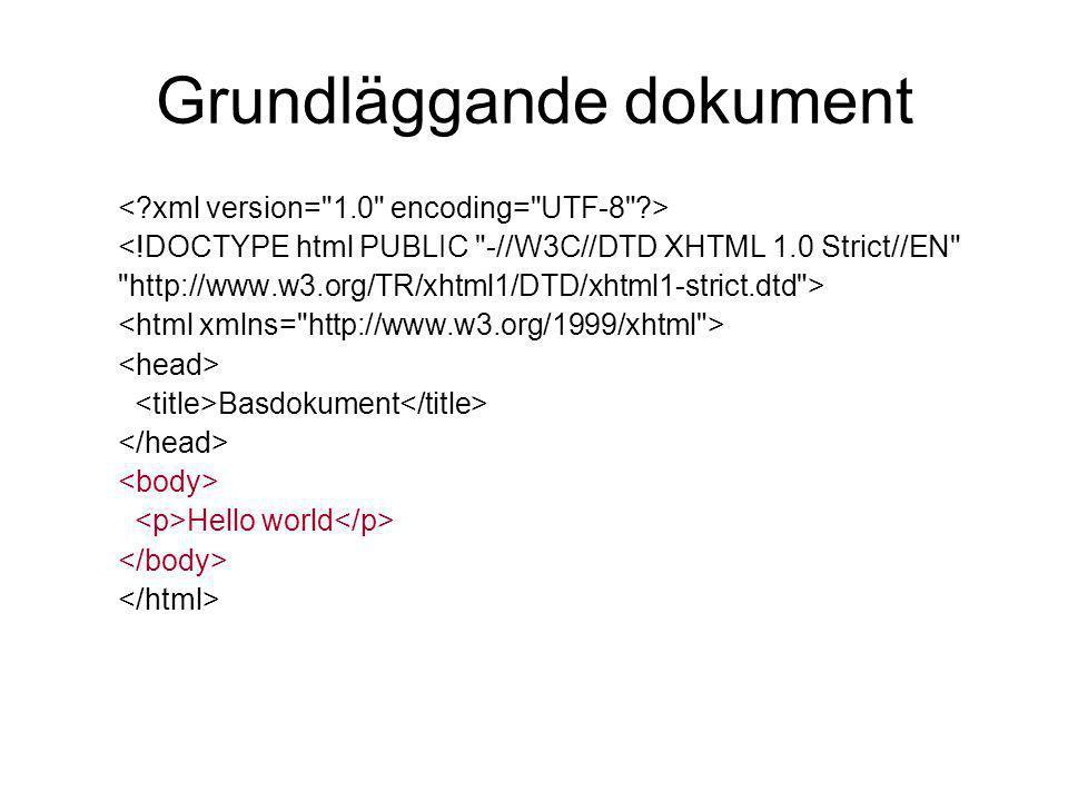 Grundläggande dokument <!DOCTYPE html PUBLIC