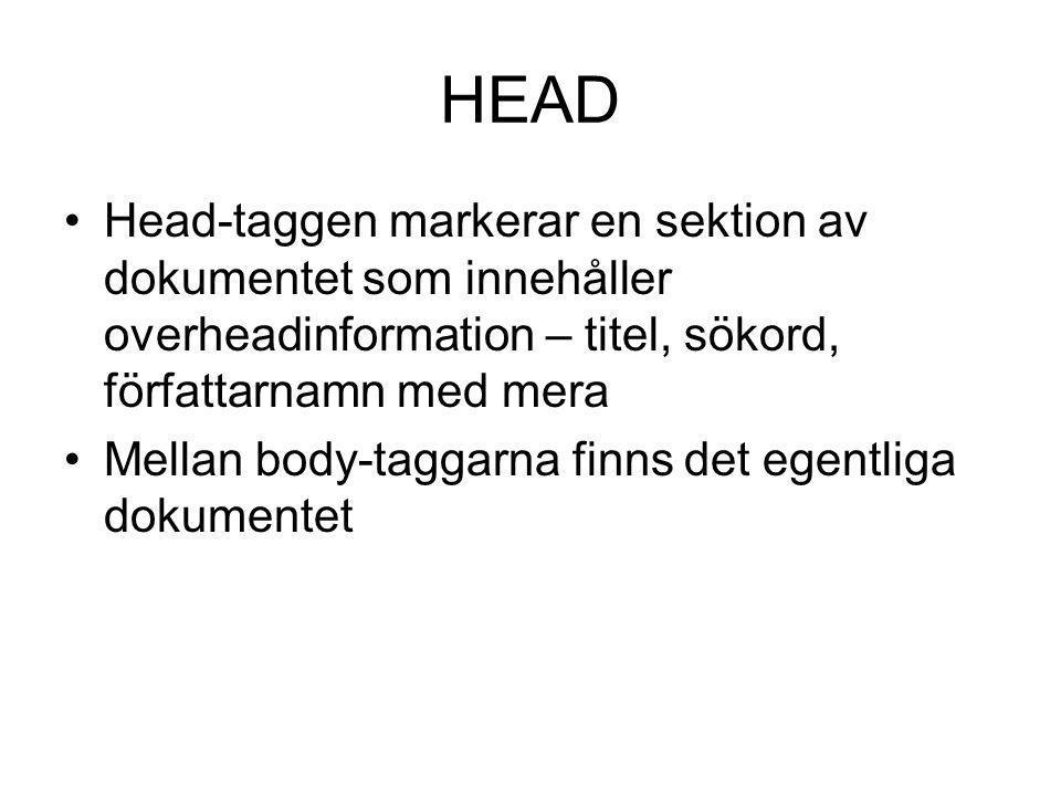HEAD Head-taggen markerar en sektion av dokumentet som innehåller overheadinformation – titel, sökord, författarnamn med mera Mellan body-taggarna fin