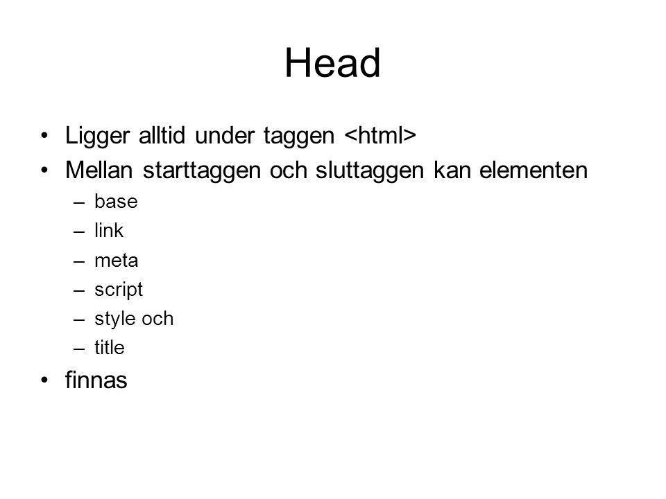 Head Ligger alltid under taggen Mellan starttaggen och sluttaggen kan elementen –base –link –meta –script –style och –title finnas