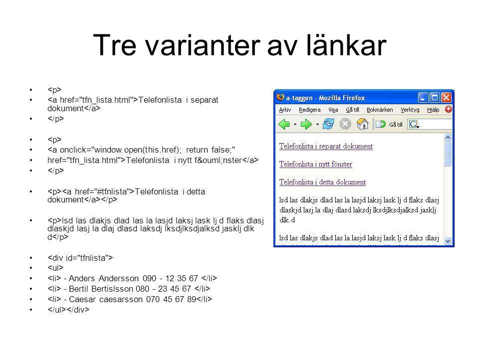 Tre varianter av länkar Telefonlista i separat dokument <a onclick=