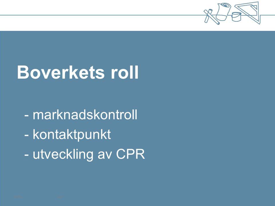 Boverkets roll - marknadskontroll - kontaktpunkt - utveckling av CPR 120504Sida 1