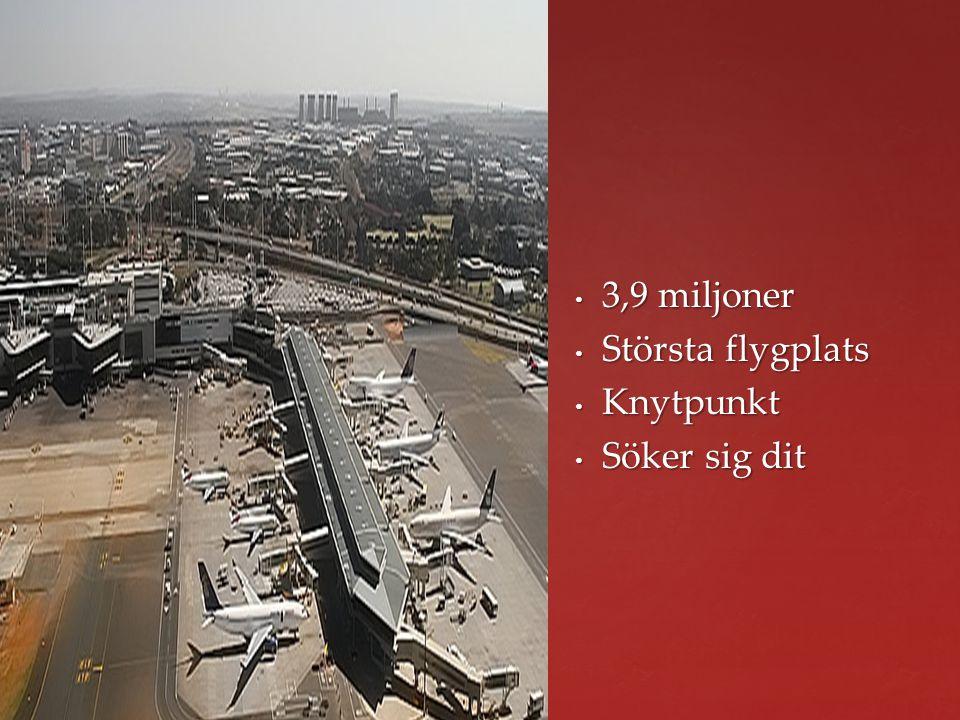 3,9 miljoner 3,9 miljoner Största flygplats Största flygplats Knytpunkt Knytpunkt Söker sig dit Söker sig dit
