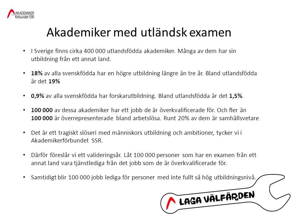 I Sverige finns cirka 400 000 utlandsfödda akademiker.